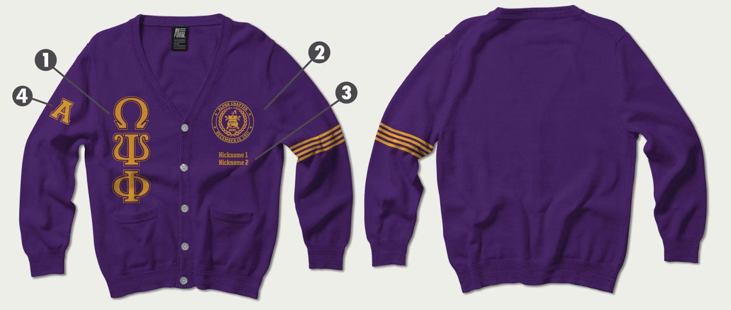 The Pearl Of Omega The Alpha Chapter Varsity Cardigan Sweater